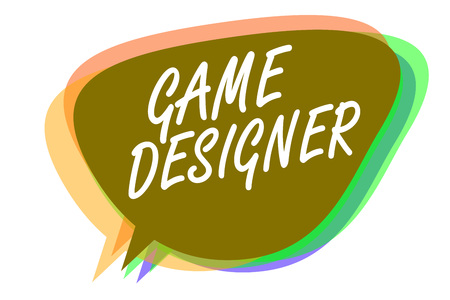 Word writing text Game Designer. Business concept for Campaigner Pixel Scripting Programmers Consoles 3D Graphics Speech bubble idea message reminder shadows important intention saying Banco de Imagens