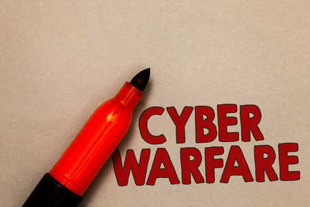 Word writing text Cyber Warfare. Business concept for Virtual War Hackers System Attacks Digital Thief Stalker Open red marker intention communicating message ideas beige background