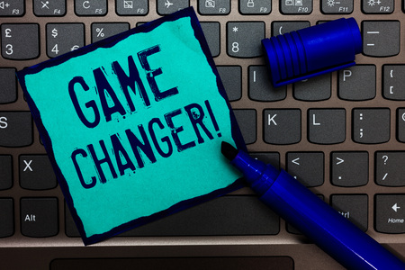 Word writing text Game Changer. Business concept for Sports Data Scorekeeper Gamestreams Live Scores Team Admins Turquoise paper keyboard Inspiration communicate idea messages blue markers Stok Fotoğraf