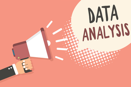 Conceptual hand writing showing Data Analysis. Business photo showcasing Translate numbers to Analytical Conclusion Forecasting Man holding megaphone speech bubble pink background halftone