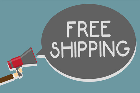 Writing note showing Free Shipping. Business photo showcasing Freight Cargo Consignment Lading Payload Dispatch Cartage Man holding megaphone loudspeaker speech bubble message speaking loud