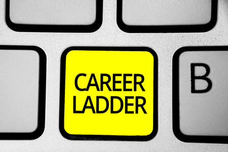 Handwriting text writing Career Ladder. Concept meaning Job Promotion Professional Progress Upward Mobility Achiever Keyboard yellow key Intention create computer computing reflection document