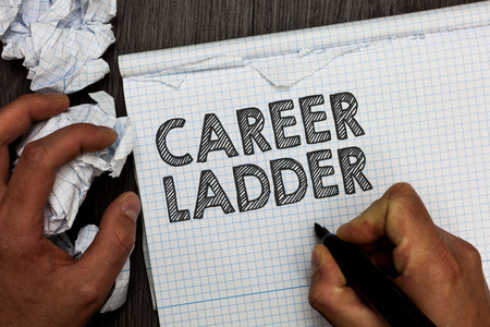 Word writing text Career Ladder. Business concept for Job Promotion Professional Progress Upward Mobility Achiever Man holding marker notebook crumpled papers several tries mistakes made