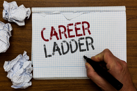 Handwriting text Career Ladder. Concept meaning Job Promotion Professional Progress Upward Mobility Achiever Man holding marker notebook crumpled papers ripped pages mistakes made
