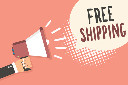 Conceptual hand writing showing Free Shipping. Business photo showcasing Freight Cargo Consignment Lading Payload Dispatch Cartage Man holding megaphone speech bubble pink background halftone