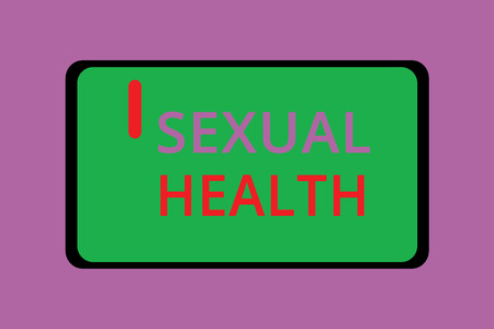 Writing note showing Sexual Health. Business photo showcasing Healthier body Satisfying Sexual life Positive relationships. Фото со стока