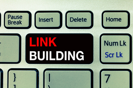 Conceptual hand writing showing Link Building. Business photo text SEO Term Exchange Links Acquire Hyperlinks Indexed.