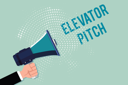 Handwriting text writing Elevator Pitch. Concept meaning A persuasive sales pitch Brief speech about the product. 写真素材