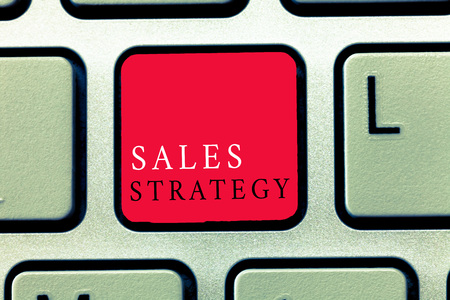 Word writing text Sales Strategy. Business concept for Plan for reaching and selling to your target market Marketing.