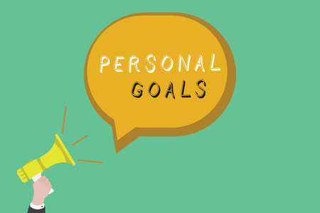 Text sign showing Personal Goals. Conceptual photo Target set by a person to influence his efforts Motivation. Stock Photo - 107560061