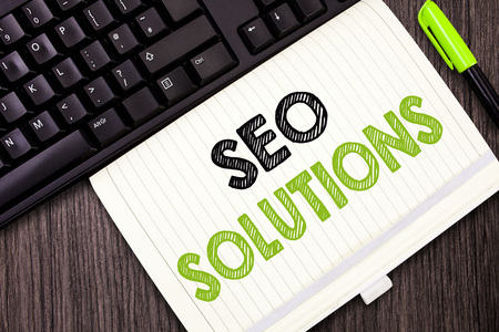 Text sign showing Seo Solutions. Conceptual photo Search Engine Result Page Increase Visitors by Rankings.