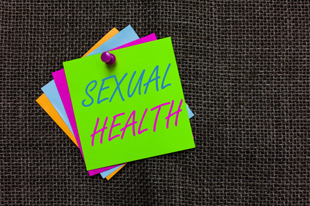 Word writing text Sexual Health. Business concept for Healthier body Satisfying Sexual life Positive relationships Paper notes Important reminders Communicate ideas messages Jute background Reklamní fotografie
