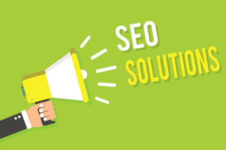 Conceptual hand writing showing Seo Solutions. Business photo text Search Engine Result Page Increase Visitors by Rankings Man holding megaphone loudspeaker green background speaking loud Stock Photo