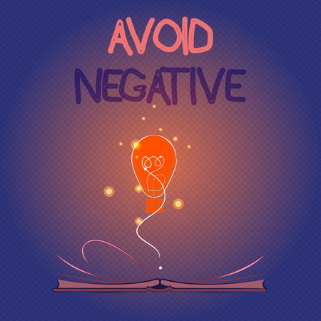 Conceptual hand writing showing Avoid Negative. Business photo showcasing Staying away from pessimistic people Suspicious Depression.