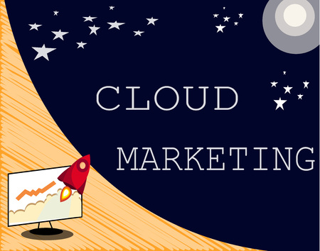 Text sign showing Cloud Marketing. Conceptual photo The process of an organisation to market their services.
