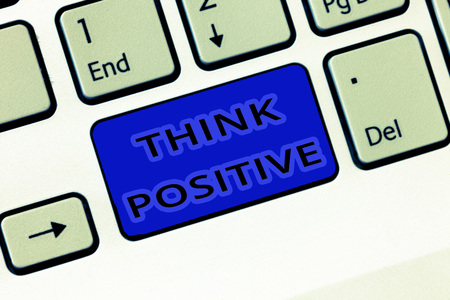 Handwriting text Think Positive. Concept meaning The tendency to be positive or optimistic in attitude. Standard-Bild