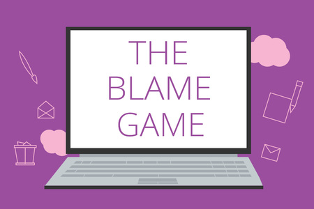 Text sign showing The Blame Game. Conceptual photo A situation when people attempt to blame one another. Stock Photo