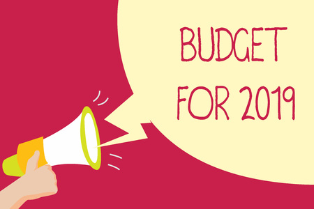 Handwriting text writing Budget For 2019. Concept meaning An written estimates of income and expenditure for 2019. Archivio Fotografico