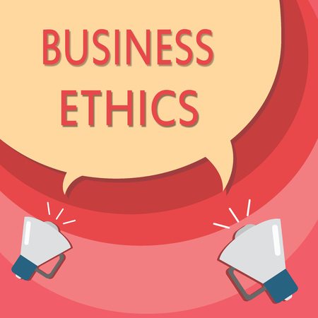 Handwriting text writing Business Ethics. Concept meaning Moral principles that guide the way a business behaves.