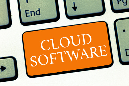 Conceptual hand writing showing Cloud Software. Business photo text Programs used in Storing Accessing data over the internet. Stock fotó