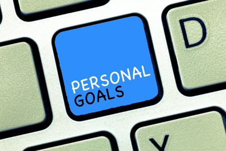Writing note showing Personal Goals. Business photo showcasing Target set by a person to influence his efforts Motivation.