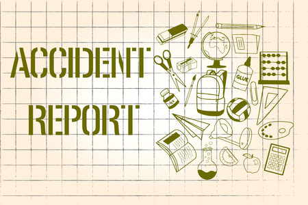 Word writing text Accident Report. Business concept for A form that is filled out record details of an unusual event. Reklamní fotografie