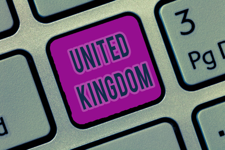 Writing note showing United Kingdom. Business photo showcasing Island country located off the northwestern coast of Europe.