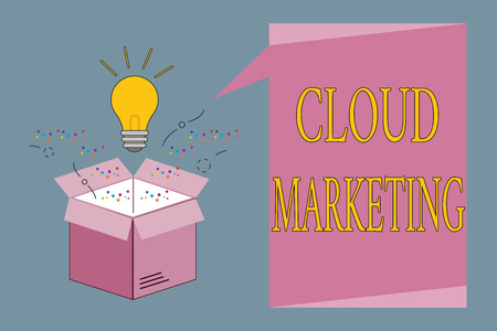 Conceptual hand writing showing Cloud Marketing. Business photo showcasing The process of an organisation to market their services.