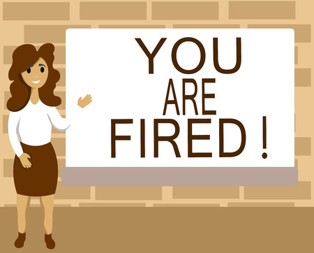 Word writing text You Are Fired. Business concept for Getting out from the job and become jobless not end the career. Stok Fotoğraf