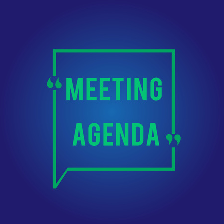 Word writing text Meeting Agenda. Business concept for An agenda sets clear expectations for what needs to a meeting.
