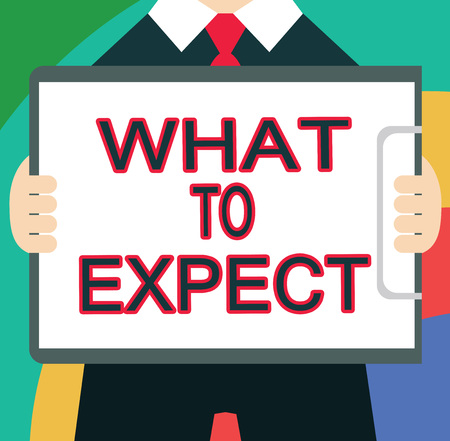 Text sign showing What To Expect. Conceptual photo Confusion about the belief of what will happen in future. Stock Photo