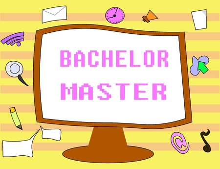 Text sign showing Bachelor Master. Conceptual photo An advanced degree completed after bachelors degree. Stock Photo