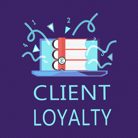 Writing note showing Client Loyalty. Business photo showcasing The result of consistently positive satisfaction to clients. Stock Photo