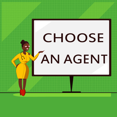 Conceptual hand writing showing Choose An Agent. Business photo showcasing Choose someone who chooses decisions on behalf of you.