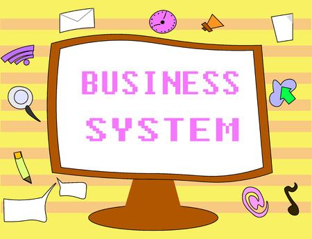 Text sign showing Business System. Conceptual photo A method of analyzing the information of organizations.