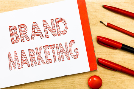 Handwriting text writing Brand Marketing. Concept meaning Creating awareness about products around the world. Imagens