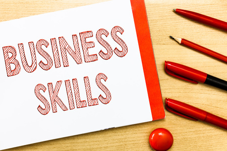 Handwriting text writing Business Skills. Concept meaning An ability to acquire systematic effort of job functions. Stock Photo