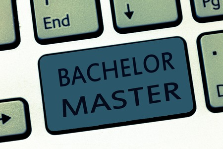 Word writing text Bachelor Master. Business concept for An advanced degree completed after bachelor's degree.