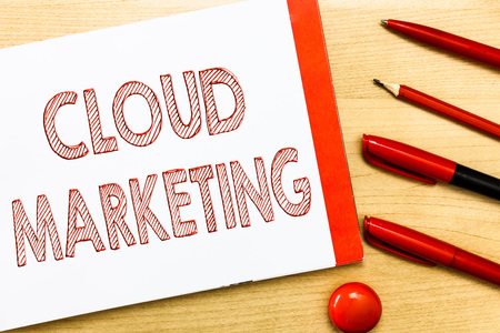 Handwriting text writing Cloud Marketing. Concept meaning The process of an organisation to market their services. Stock Photo