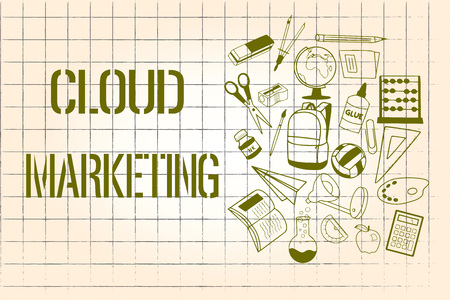 Word writing text Cloud Marketing. Business concept for The process of an organisation to market their services. Banque d'images