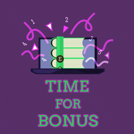 Conceptual hand writing showing Time For Bonus. Business photo text a sum of money added to a persons wages as a reward.