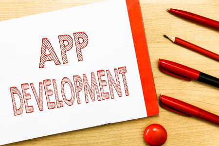 Handwriting text writing App Development. Concept meaning Development services for awesome mobile and web experiences. Stock Photo - 107652272