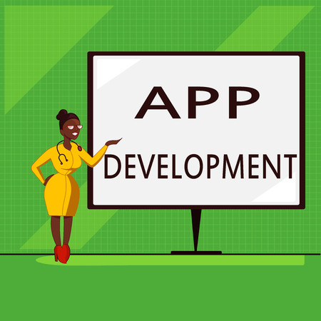 Conceptual hand writing showing App Development. Business photo showcasing Development services for awesome mobile and web experiences.