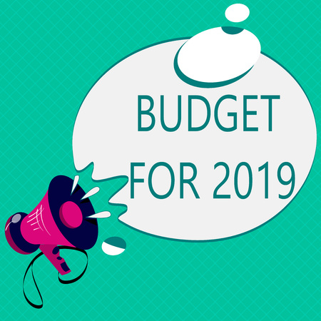 Conceptual hand writing showing Budget For 2019. Business photo text An written estimates of income and expenditure for 2019. Archivio Fotografico