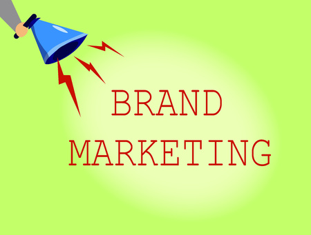 Conceptual hand writing showing Brand Marketing. Business photo showcasing Creating awareness about products around the world.