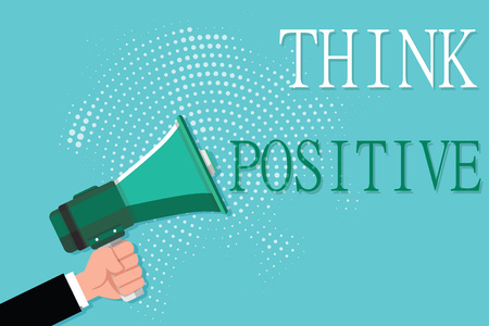 Conceptual hand writing showing Think Positive. Business photo showcasing The tendency to be positive or optimistic in attitude. Stock Photo