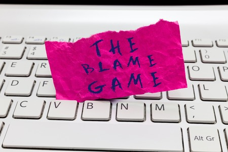 Word writing text The Blame Game. Business concept for A situation when people attempt to blame one another.