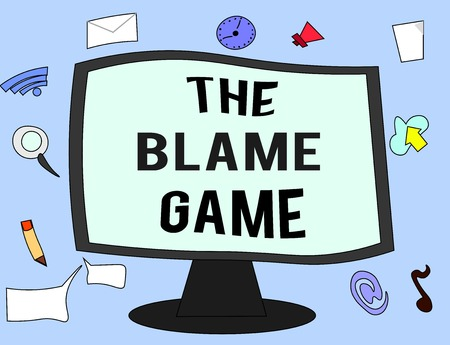 Handwriting text The Blame Game. Concept meaning A situation when people attempt to blame one another. Stock fotó
