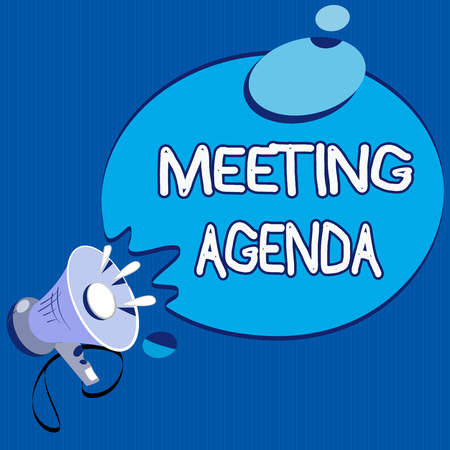 Text sign showing Meeting Agenda. Conceptual photo An agenda sets clear expectations for what needs to a meeting.