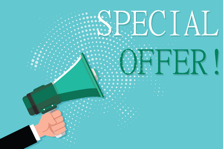 Conceptual hand writing showing Special Offer. Business photo showcasing Discounted price Markdown Promotional Items Crazy Sale. Stock Photo